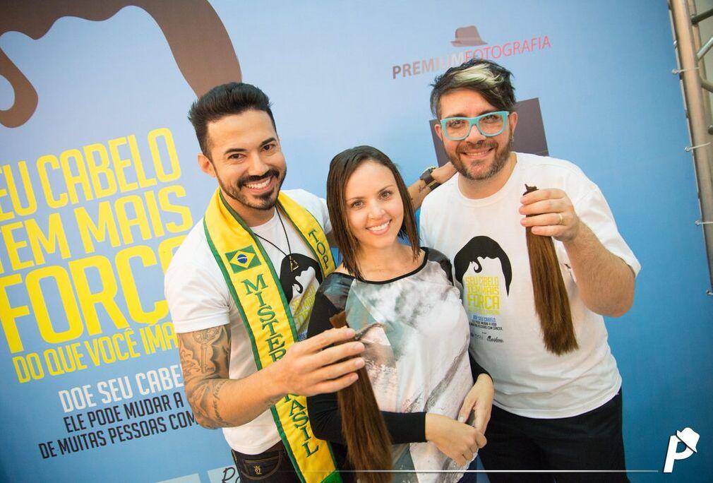 Matheus Gouveia, doadora e Rogério Magalhães